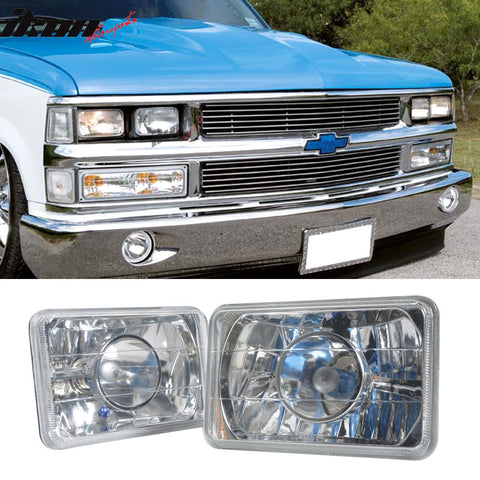 Fits 80-85 Cadillac Seville Sealed Beam Crystal Headlight 6X4in H4