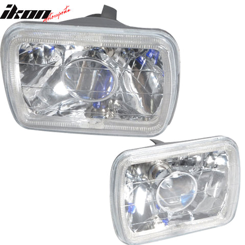 7x6in Blue Halo H4 Bulb Sealed Beam Square Headlight Headlamp
