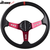 350MM PVC Steering Wheel Deep Dish Red Spoke Horn Button & Emblem