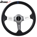 350MM PVC 6 Hole Steering Wheel Deep Dish Silver Spoke Horn & Emblem
