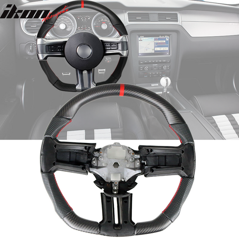Fits 10-14 Mustang CF&Leather Steering Wheel W/ Stitching & Indicator