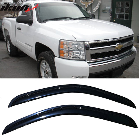 Fits 07-14 GMC Sierra Standard Cab Acrylic Window Visors 2Pc Set