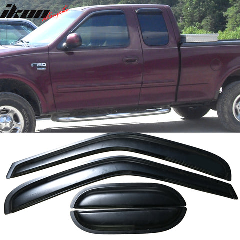 Fits 97-03 Ford F150 F250 Extended Cab Acrylic Window Visors 4Pc Set