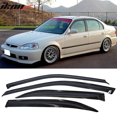 Fits 96-00 Honda Civic Sedan Acrylic Window Visors 4Pc Set