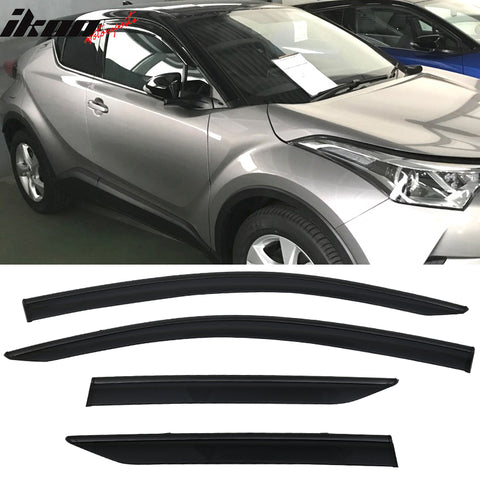 Fits 17-18 Toyota CHR Polycarbonate Window Visors w/ Black Chrome Trim