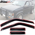 Fits 90-95 Nissan Pathfinder In Channel Style Acrylic Window Visors 4P