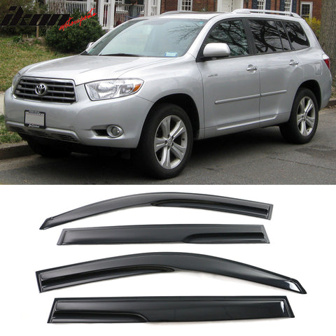 Fits 08-13 Toyota Highlander Mugen Style Acrylic Window Visors 4Pc Set