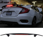2 Post Universal Matte Black Trunk Spoiler & 3RD Brake LED Light - ABS