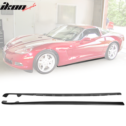 Fits 05-13 Chevy Corvette C6 Base ZL1 Style Matte Black Side Skirts -