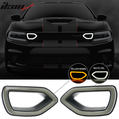 Fits 15-19 Dodge Charger SRT Scat Pack Grille Smoke LED Lights