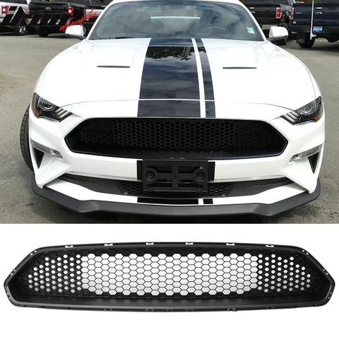 Fits 18-20 Ford Mustang Front Upper Mesh Grille Matte Black - ABS
