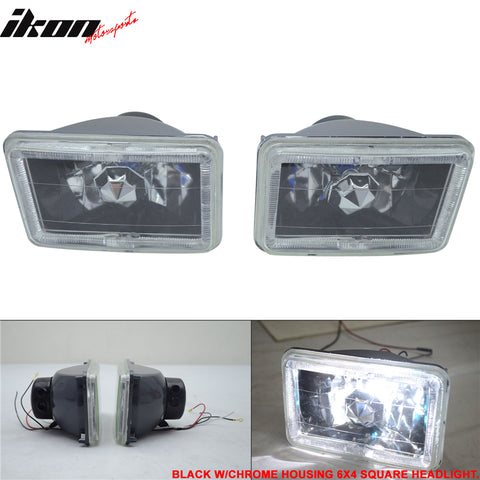4X6 Square H4 Headlight Lamp With Halo Halogen Bulb Clear Lens
