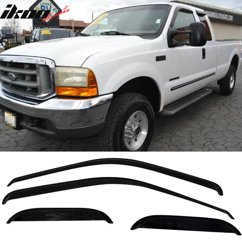 Fits 99-16 Ford F250 Super Duty Extended Cab Acrylic Window Visors 4Pc