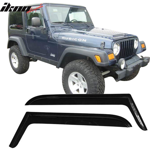 Fits 97-06 Jeep Wrangler Acrylic Window Visors 2Pc Set