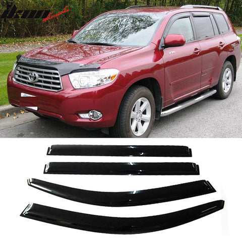 Fits 08-13 Toyota Highlander Acrylic Window Visors 4Pc Set