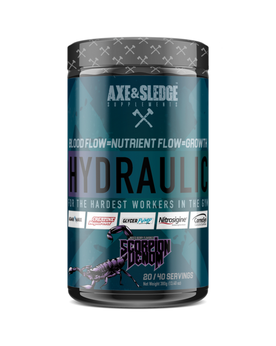 Axe & Sledge Hydraulic – Pump Stim free pre workout 400g Various Flavours