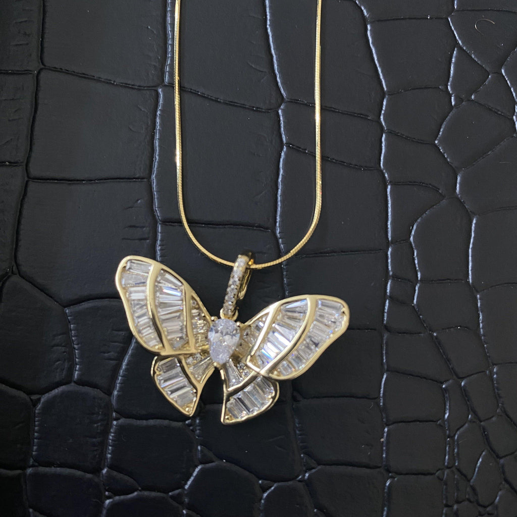 COCOA ARI - Baguette Mini Butterfly Sterling Silver Necklace