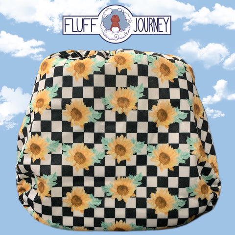 Fluff Journey Pocket Diaper- Checkered Sunflowers