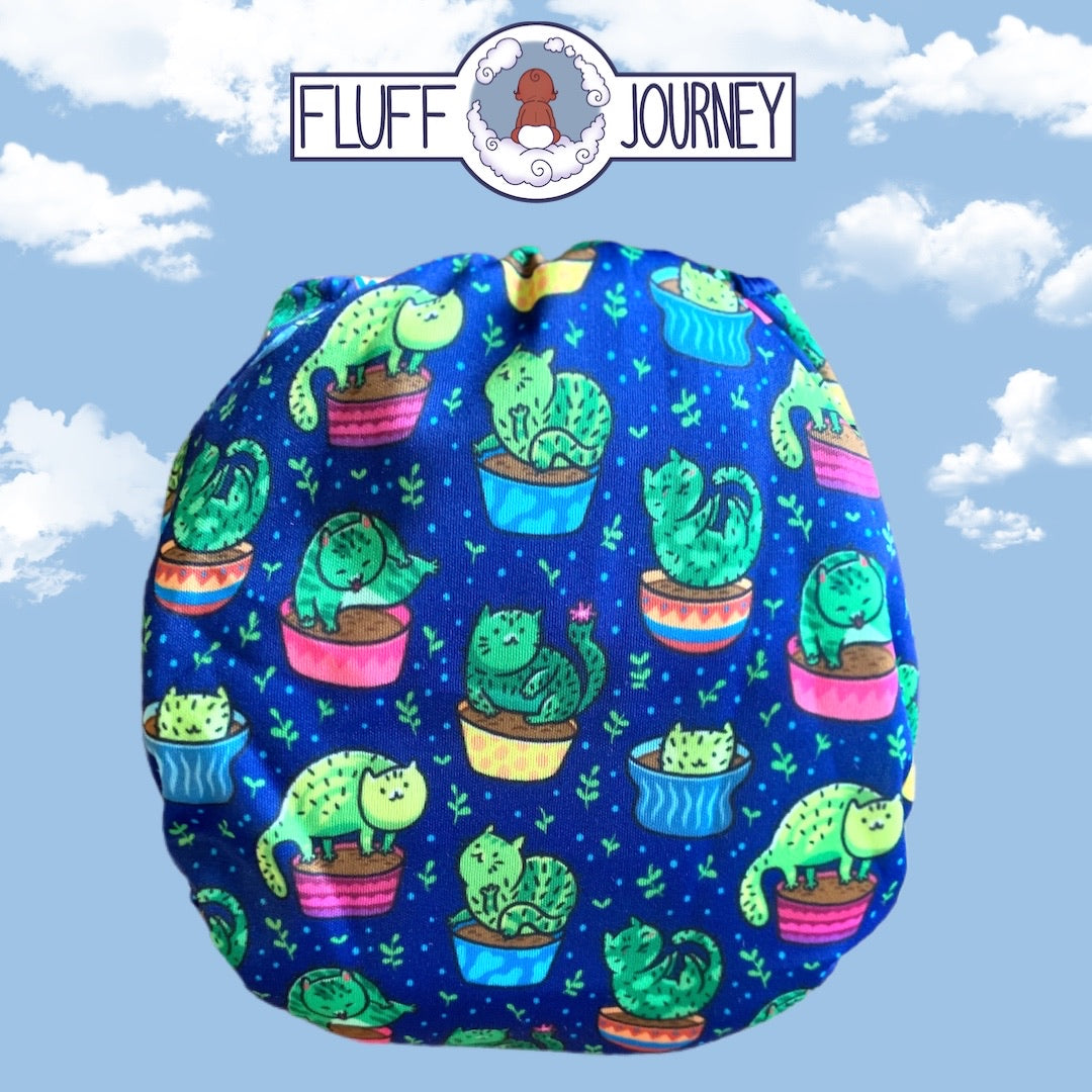 Fluff Journey Pocket Diaper- Cactus Cats