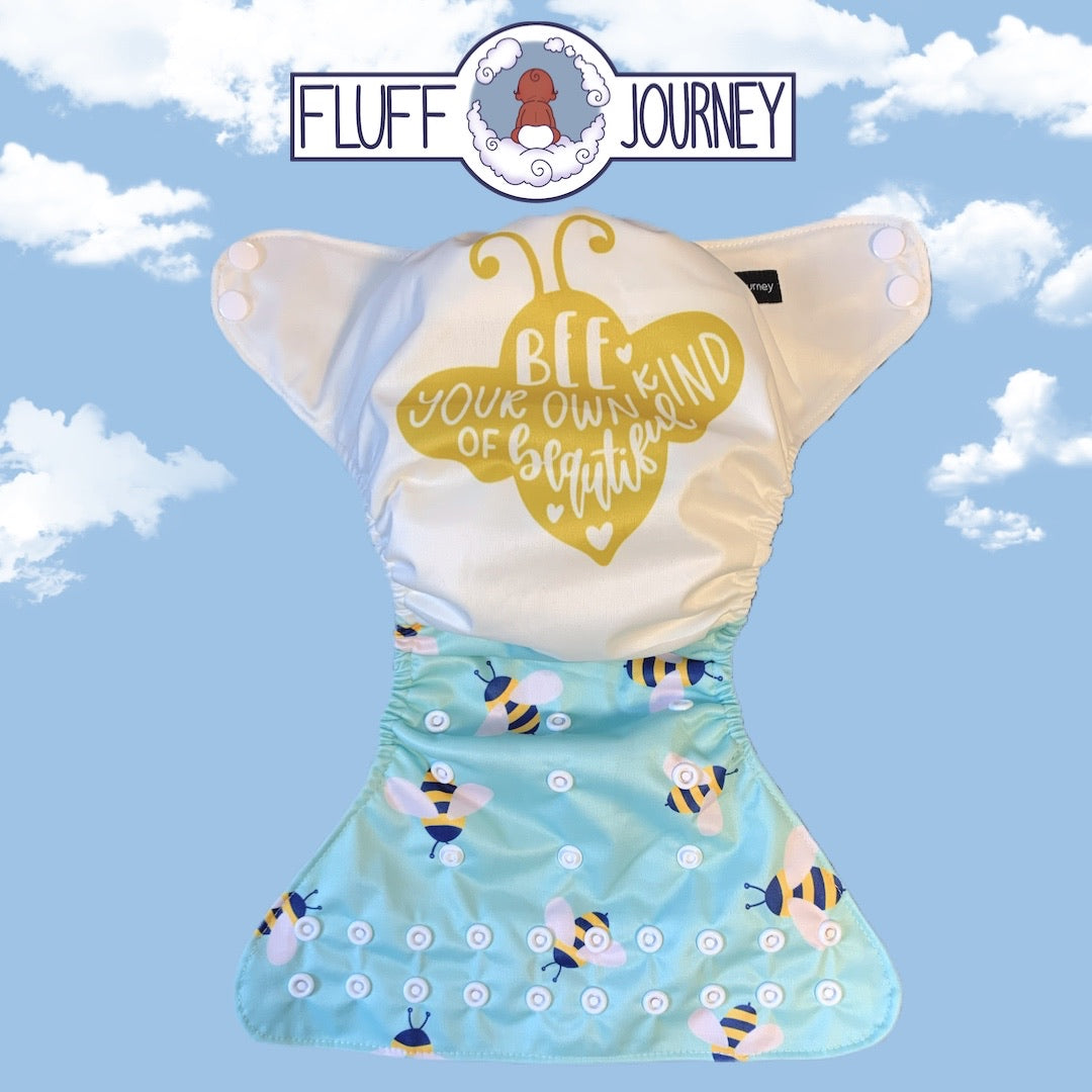Fluff Journey Pocket Diaper- Bee Your Own Kind of Beautiful