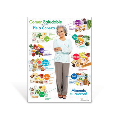 Older Adult Healthy Eating From Head to Toe Spanish Poster