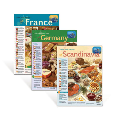 International Foods Poster Set: France, Germany, Scandinavia