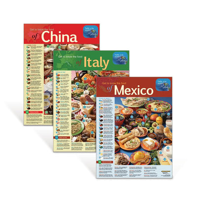 International Foods Poster Set – Mexico, Italy & China