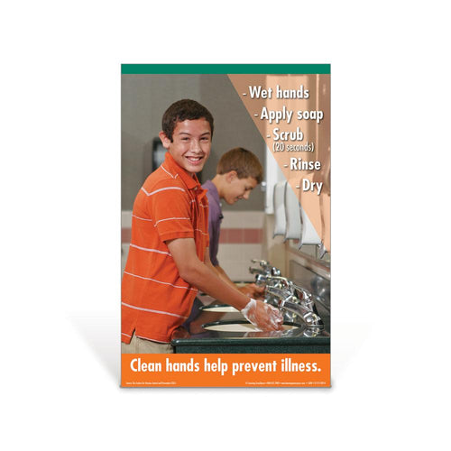 Hand Washing Middle School Boy Poster