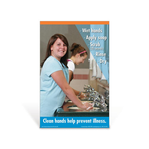 Hand Washing Middle School Girl Poster