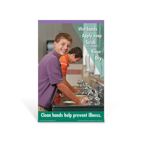 Hand Washing Elementary School Boy Poster