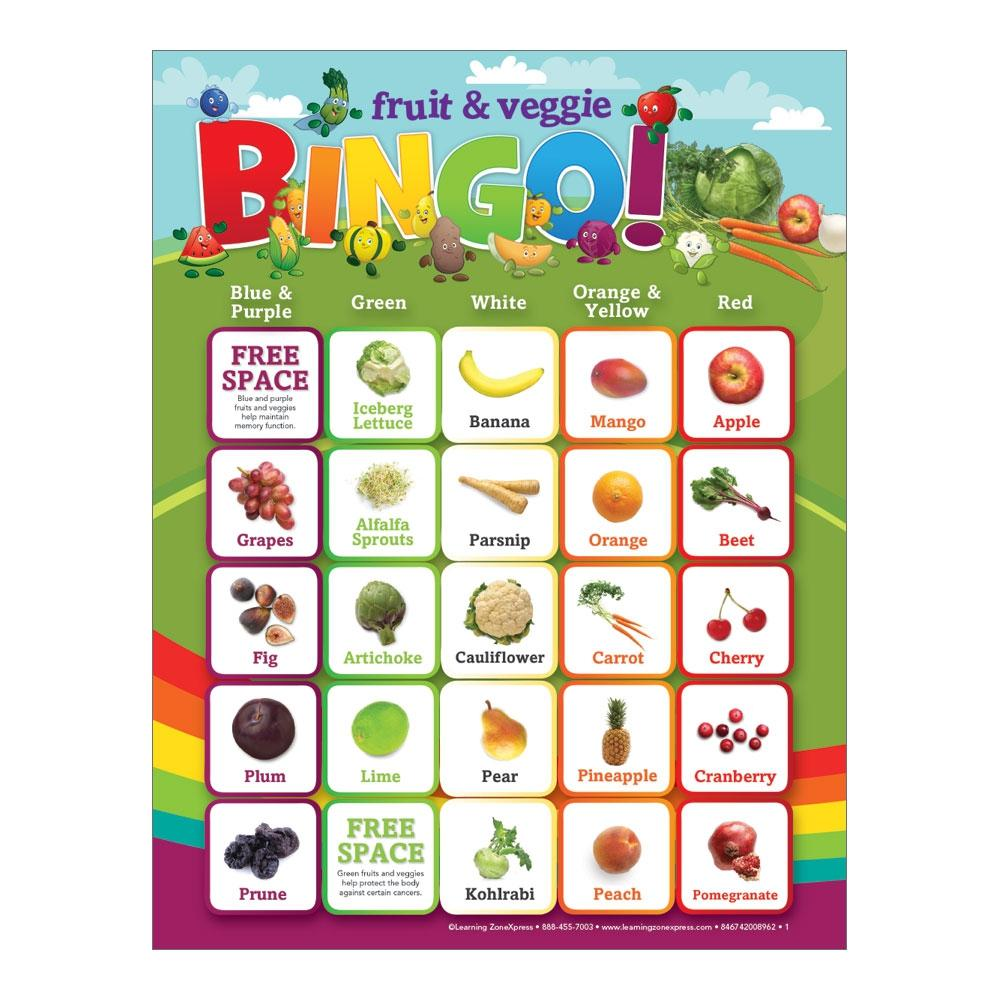 Fruit & Vegetables Bingo Game Card