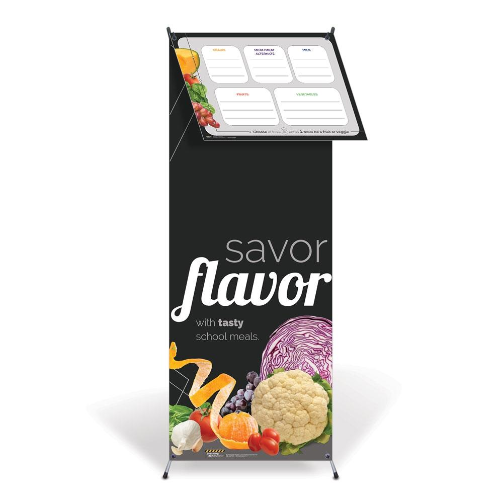 Savor Flavor Vinyl Banner with Stand and Dry Erase Menu Board