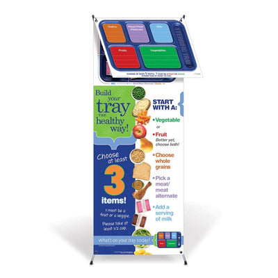 1 Terrific Tray™ Vinyl Banner with Stand and Dry Erase Menu Board