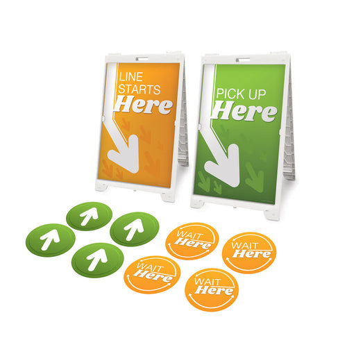 Orange and Green Social Distancing Signage Starter Kit