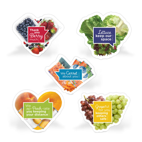 Fruit and Veggie Puns Social Distancing Floor Decal Set