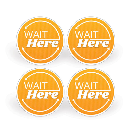 Orange Wait Here Social Distancing Floor Decals