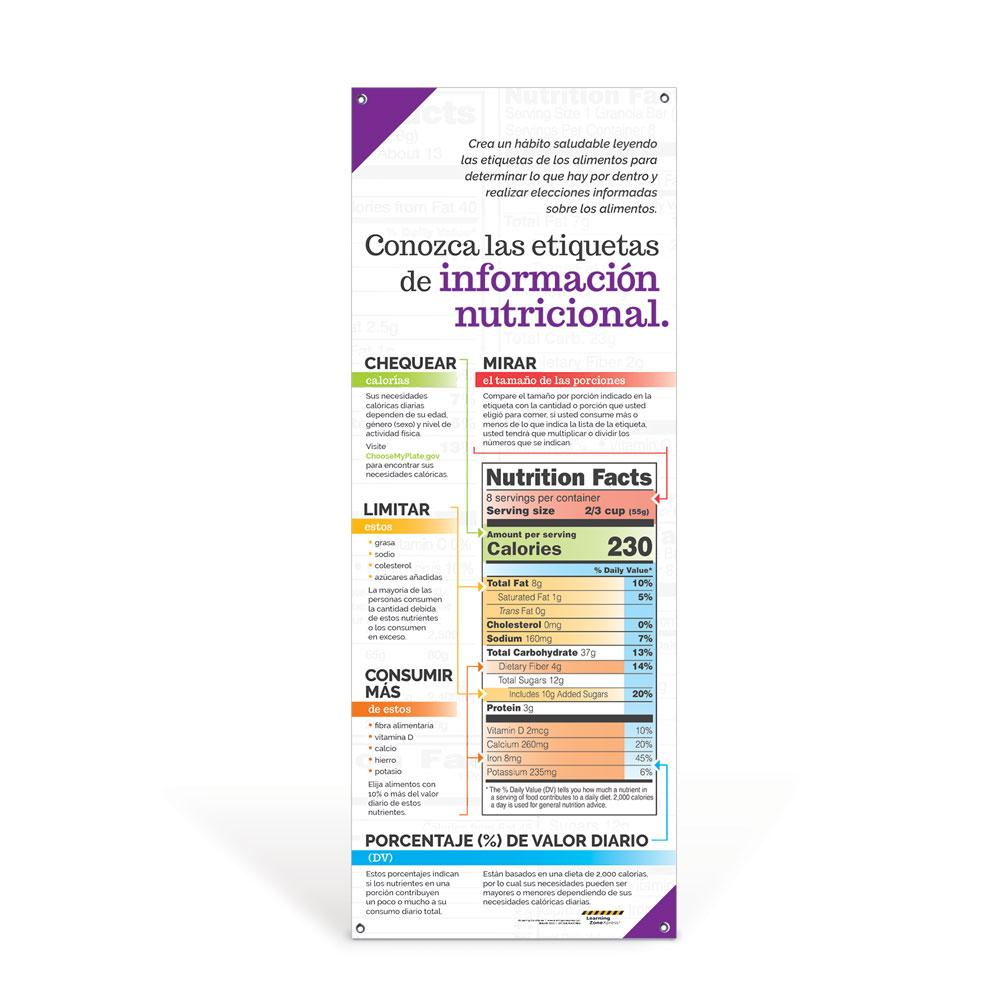 Get to Know Nutrition Facts Labels Spanish Vinyl Banner