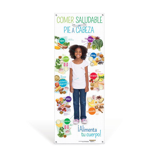 Kids Spanish Healthy Eating from Head to Toe Vinyl Banner