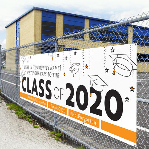 Tip Our Caps to the Class of 2020 Custom Outdoor Banner