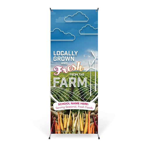 Custom Vinyl Banner: Farm to School with Stand