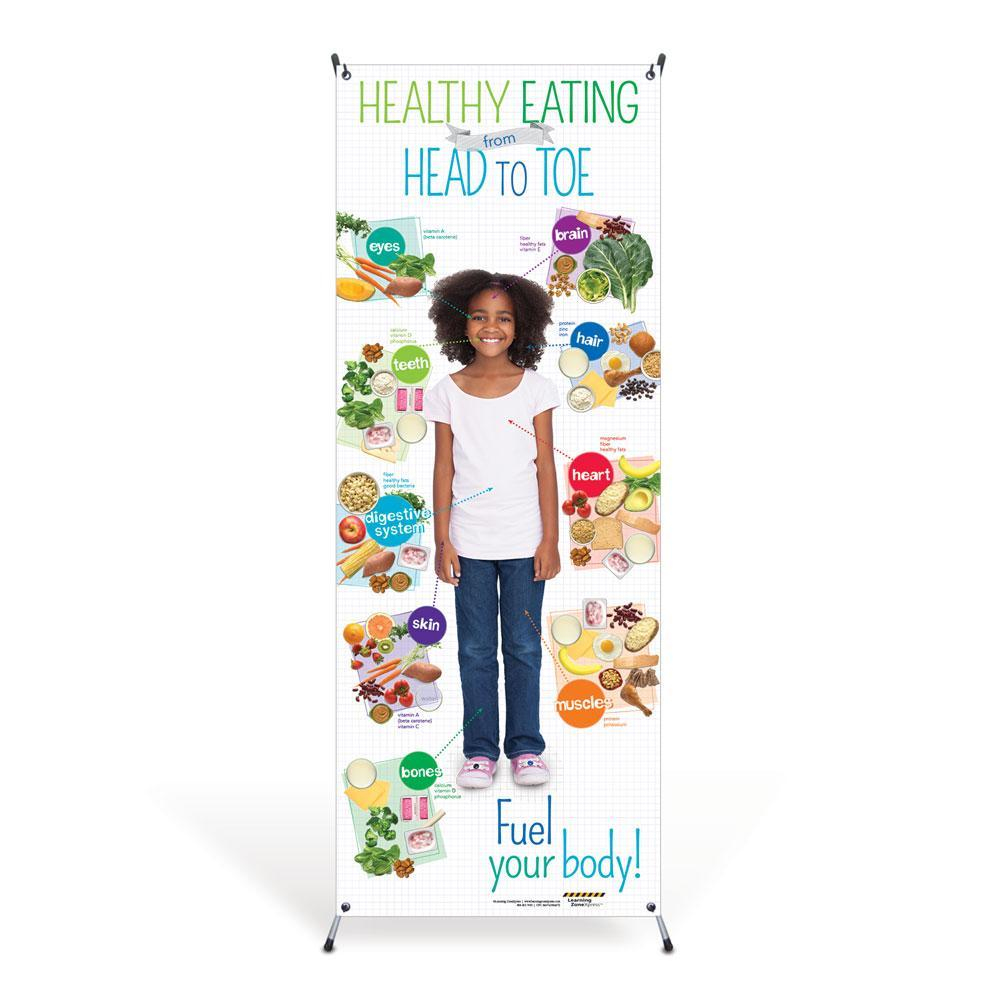 Kids Healthy Eating from Head to Toe Vinyl Banner with Stand