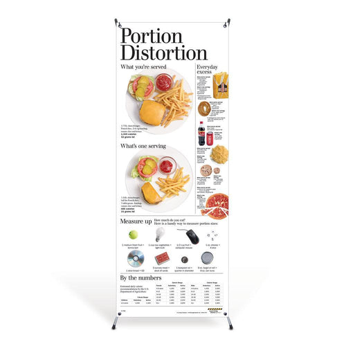 Portion Distortion Vinyl Banner and Stand
