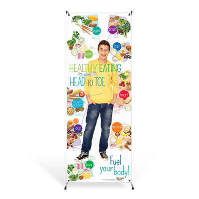 Teen Healthy Eating from Head to Toe Vinyl Banner with Stand