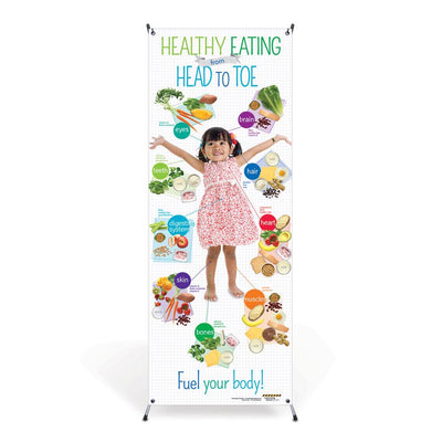 Preschool Healthy Eating from Head to Toe Vinyl Banner with Stand