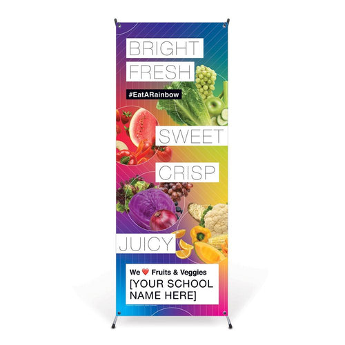 Custom Vinyl Banner: Fresh Fruit and Vegetable Promotional Banner with Stand