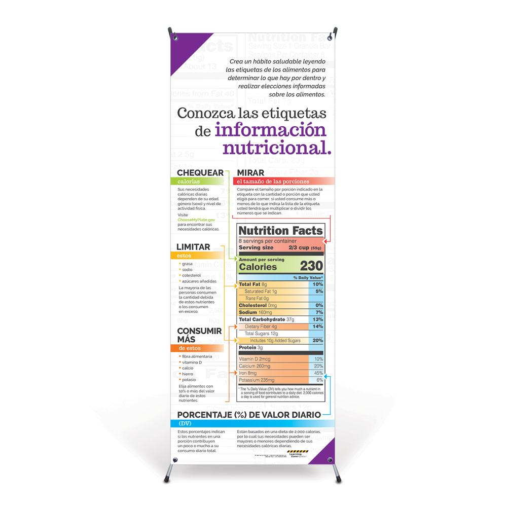 Get to Know Nutrition Facts Labels Spanish Vinyl Banner & Stand