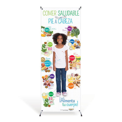 Kids Spanish Healthy Eating from Head to Toe Vinyl Banner with Stand