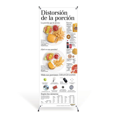 Portion Distortion Spanish Vinyl Banner with Stand