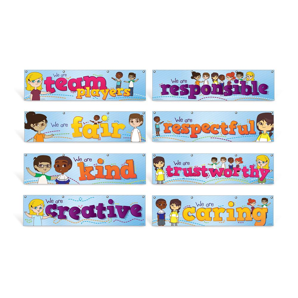 Elementary Character Education Hanging Banners Set of 8