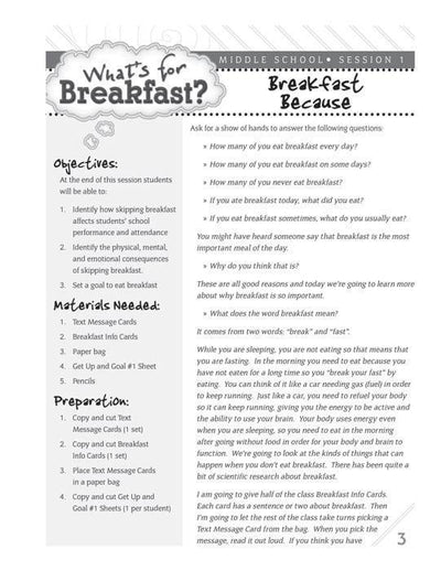 What's For Breakfast? Lesson Plans for Middle School and High School
